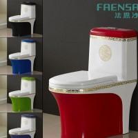 新款座便器彩色陶瓷马桶 超漩连体坐厕 冲水强劲黑白蓝彩金边马