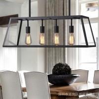美式Loft复古工业酒吧灯 北欧创意餐厅吧台客厅灯个性玻璃箱吊灯