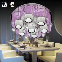 花瓣形led吸顶灯简约创意卧室灯可调光K9水晶灯唯美圆形客厅灯饰