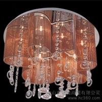 供应批发水晶拉丝灯 水晶拉丝布艺吸顶灯 卧室灯